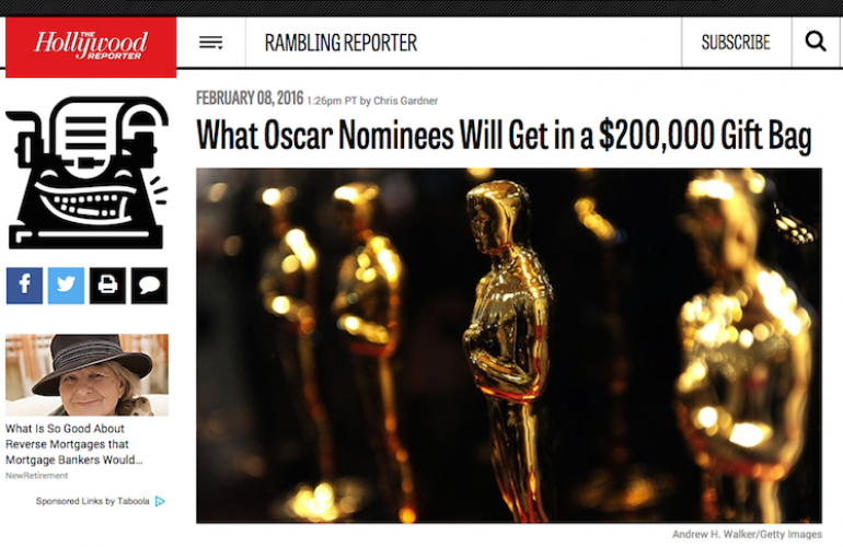 Oscars Gift Bags Story in The Hollywood Reporter